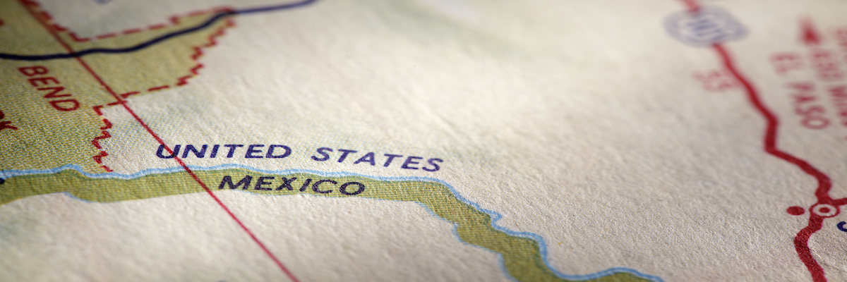 Close up of a map showing the U.S. and Mexican border.