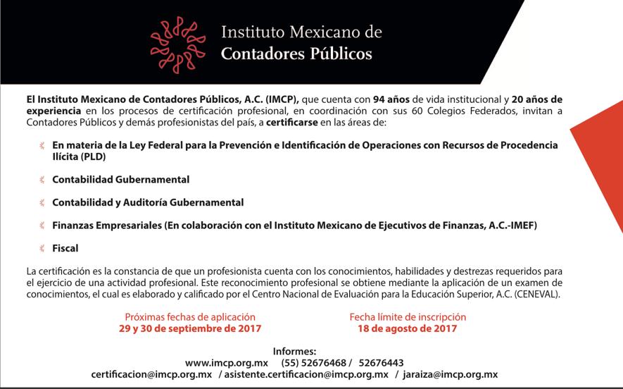 Certificación Profesional en el IMCP - IMCP