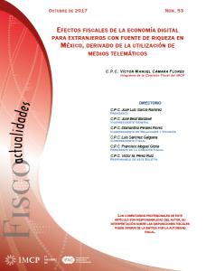 Fiscoactualidades 2017-53 EFECTOS FISCALES DE LA ECONOMÍA DIGITAL PARA EXTRANJEROS CON FUENTE DE RIQUEZA EN MÉXICO, DERIVADO DE LA UTILIZACIÓN DE MEDIOS TELEMÁTICOS