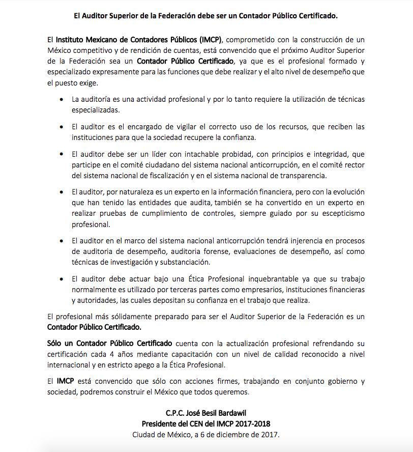 Perfil del Auditor Supeior de la Fedracion Definitivo IMCP