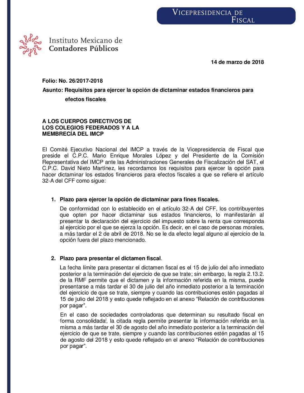 Folio No.: 26/2017-2018 Requisitos para ejercer la opción de dictaminar estados financieros para efectos fiscales