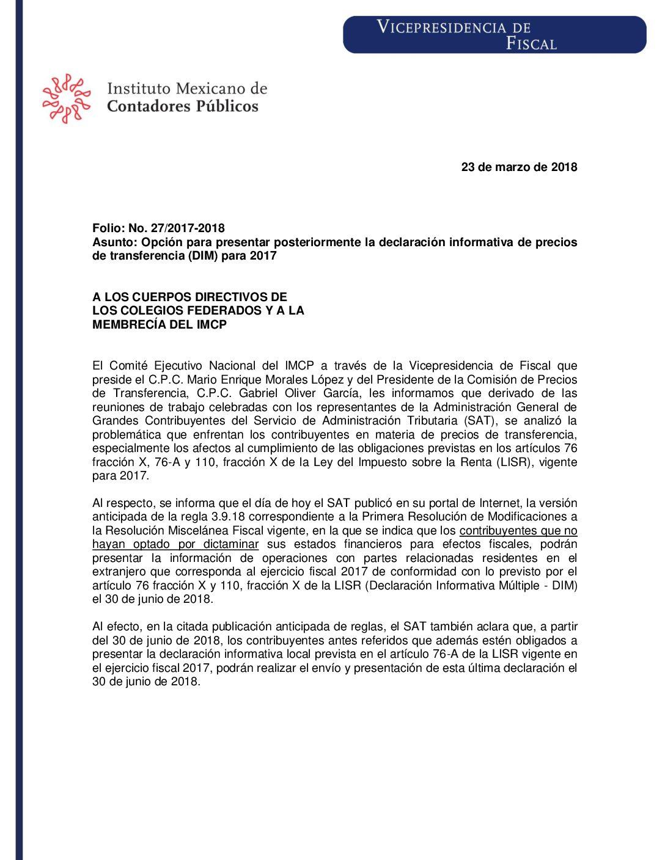 Folio No.: 27/2017-2018 Opción para presentar posteriormente la declaración informativa de precios de transferencia (DIM) para 2017