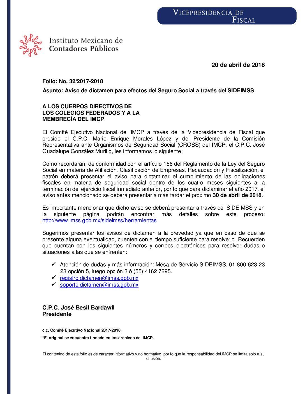 Folio No.: 32/2017-2018 Aviso de dictamen para efectos del Seguro Social a través del SIDEIMSS