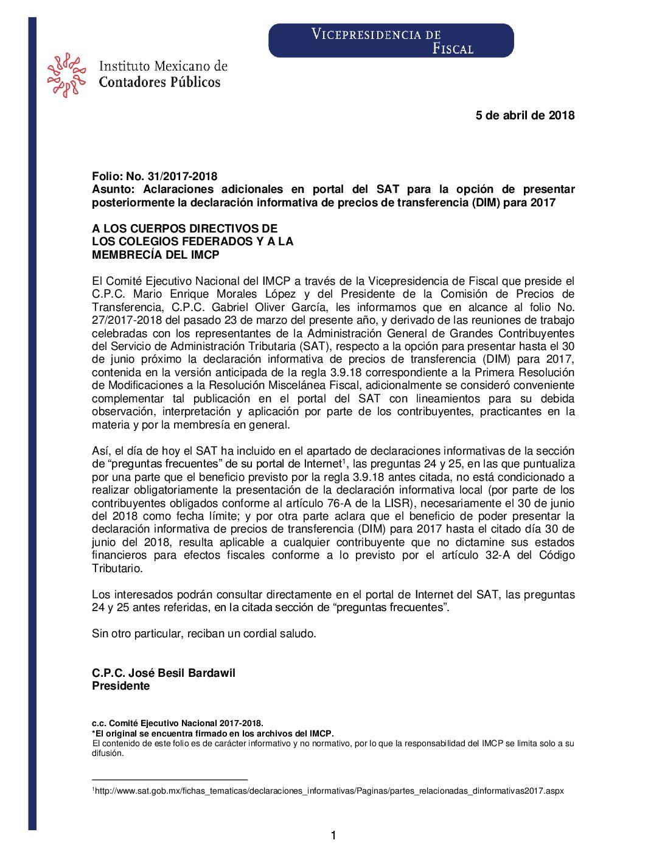 Folio No.: 31/2017-2018 Aclaraciones adicionales en portal del SAT para la opción de presentar posteriormente la declaración informativa de precios de transferencia (DIM) para 2017