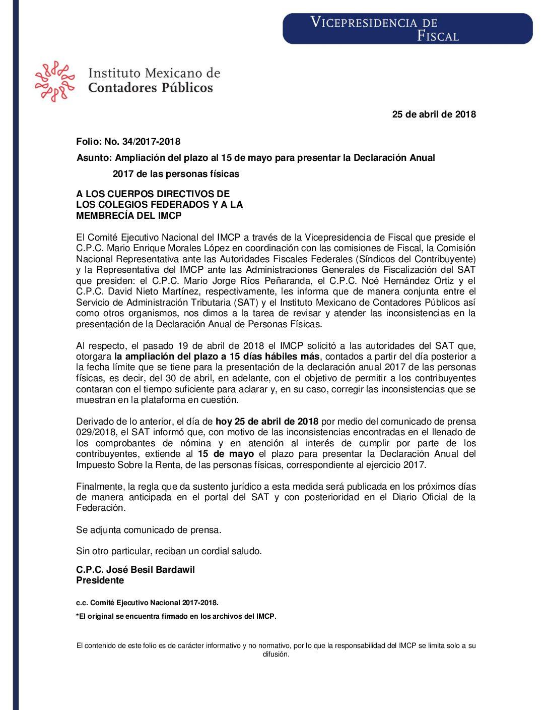Folio No.: 34/2017-2018 Ampliación del plazo al 15 de mayo para presentar la Declaración Anual 2017 de las personas físicas