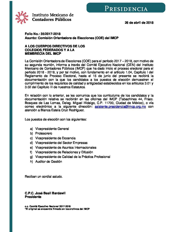 Folio No.: 35/2017-2018 Comisión Orientadora de Elecciones (COE) del IMCP