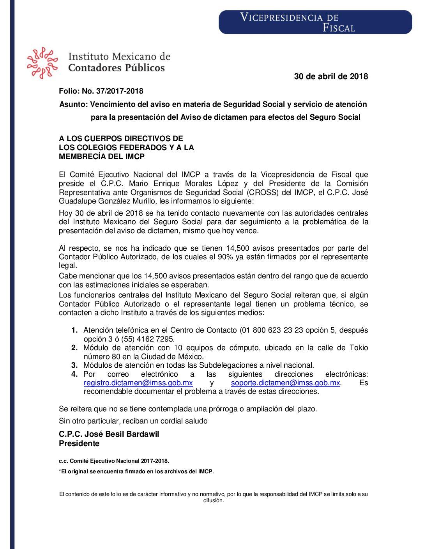 Folio No.: 37/2017-2018 Vencimiento del aviso en materia de Seguridad Social y servicio de atención para la presentación del Aviso de dictamen para efectos del Seguro Social