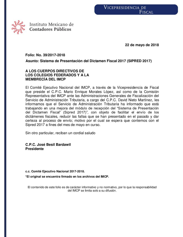 Folio No.: 39/2017-2018 Sistema de Presentación del Dictamen Fiscal 2017 (SIPRED 2017)