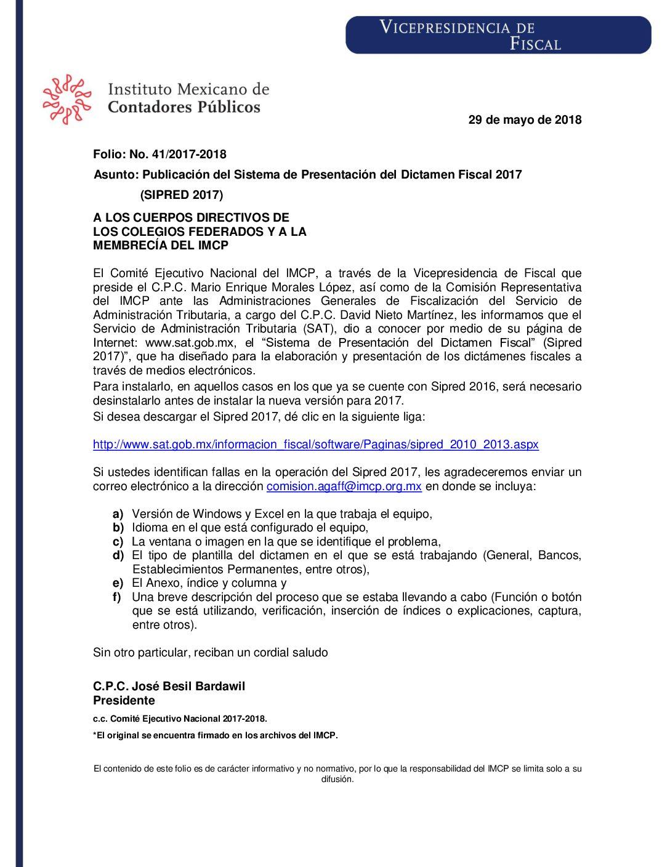 Folio No.: 41/2017-2018 Publicación del Sistema de Presentación del Dictamen Fiscal 2017 (SIPRED 2017)