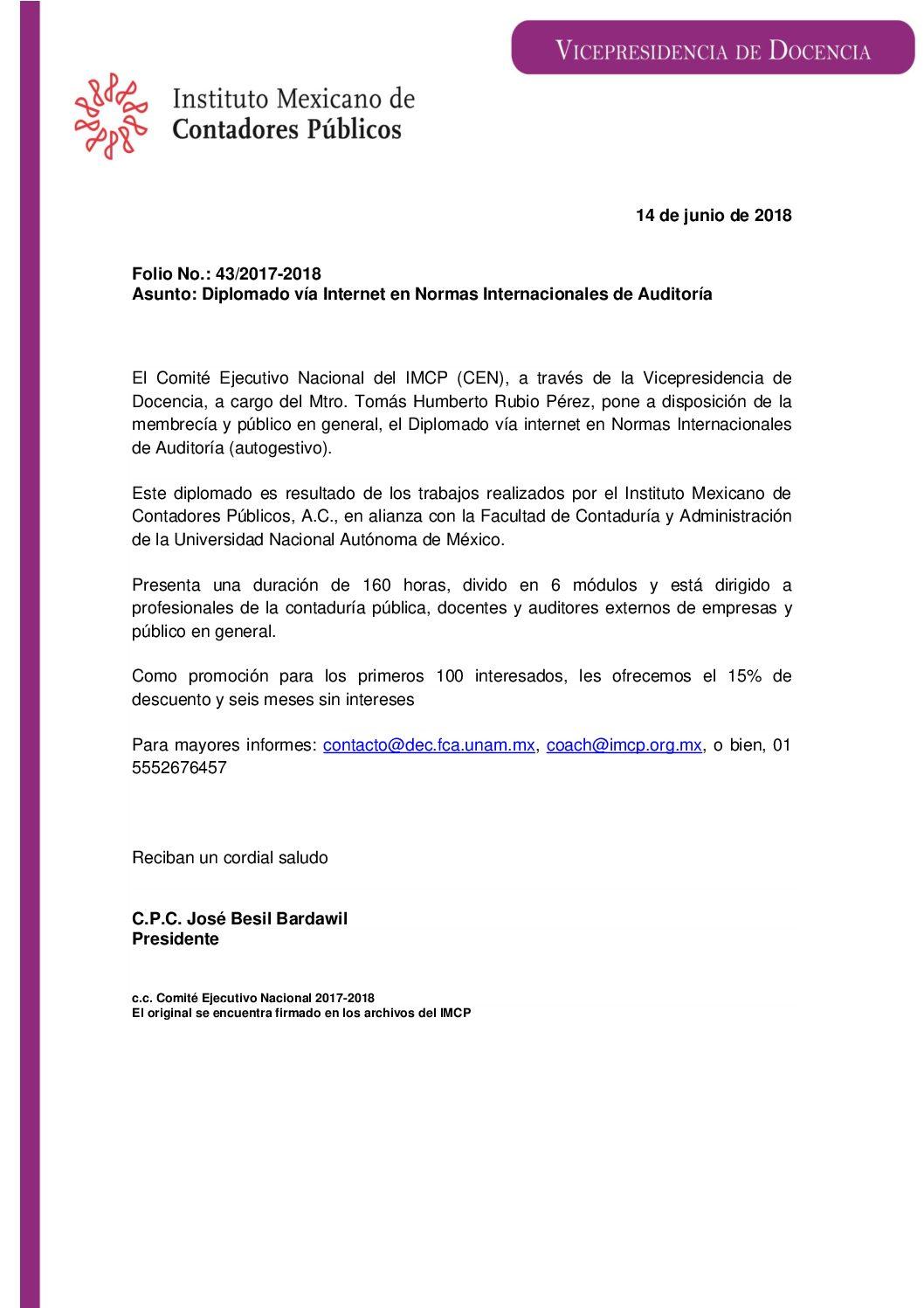 Folio No.: 43/2017-2018: Diplomado vía Internet en Normas Internacionales de Auditoría