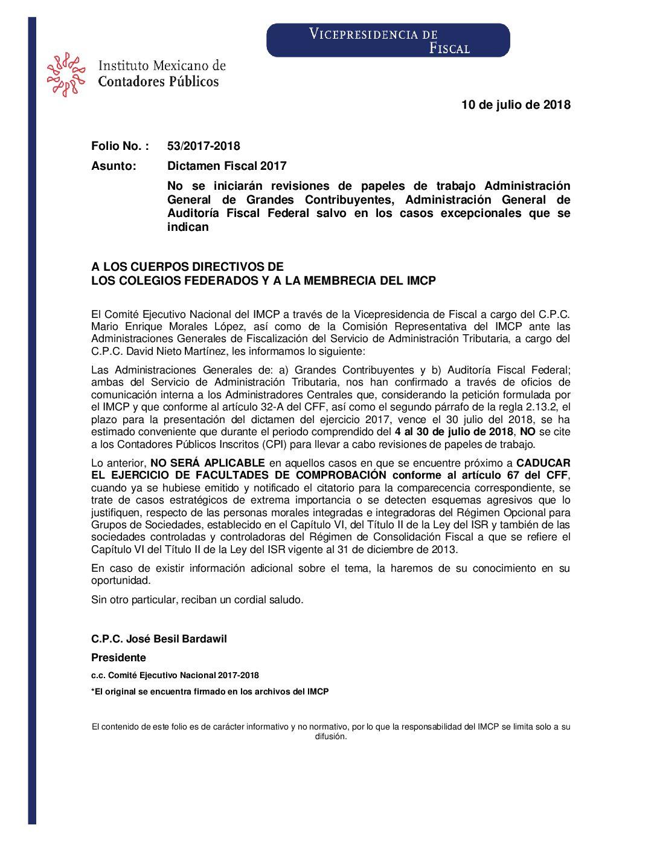 Folio No.: 54/2017-2018 Dictamen Fiscal 2017 – Fecha límite para la presentación del dictamen fiscal