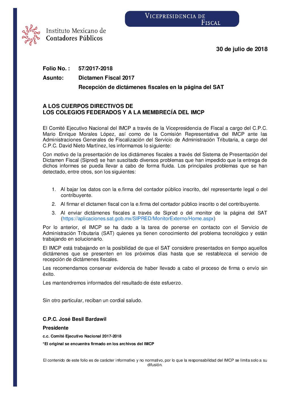 Folio No.: 57/2017-2018 Dictamen Fiscal 2017 – Recepción de dictámenes fiscales en la página del SAT