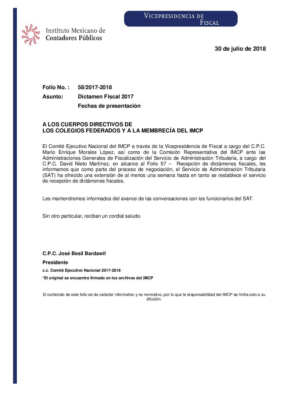 Folio No.: 58/2017-2018 Dictamen Fiscal 2017 – Fechas de presentación