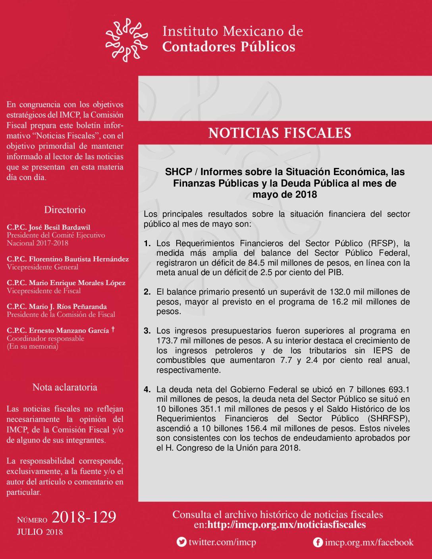 Noticias Fiscales 2018-129 SHCP / Informes sobre la Situación Económica, las Finanzas Públicas y la Deuda Pública al mes de mayo de 2018