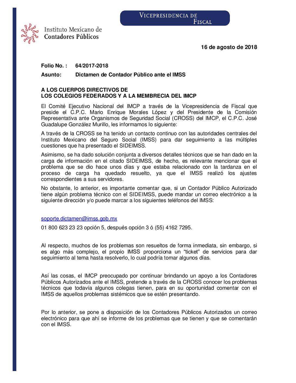Folio No.: 64/2017-2018 Dictamen de Contador Público ante el IMSS
