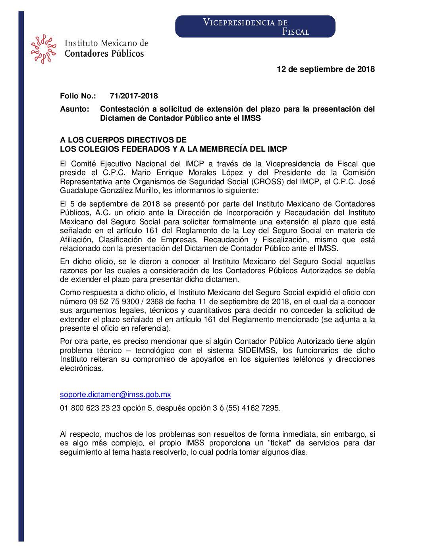Folio No.: 71/2017-2018 Contestación a solicitud de extensión del plazo para la presentación del Dictamen de Contador Público ante el IMSS