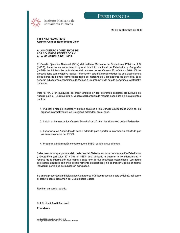 Folio No.: 75/2017-2018 Censos Económicos 2019