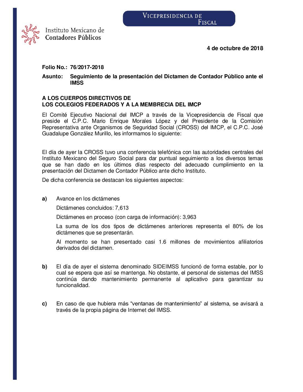 Folio No.: 76/2017-2018 Seguimiento de la presentación del Dictamen de Contador Público ante el IMSS