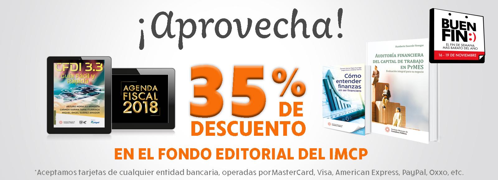 """BUEN FIN, """"Aprovecha 35% de descuento en el fondo editorial del IMCP"""""""