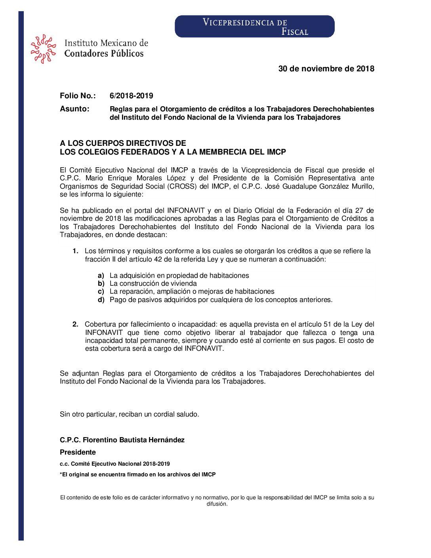 Folio No.: 6/2018-2019 Reglas para el Otorgamiento de créditos a los Trabajadores Derechohabientes del Instituto del Fondo Nacional de la Vivienda para los Trabajadores