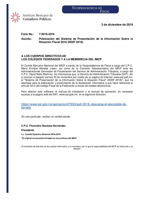 Folio No.: 7/2018-2019 Publicación del Sistema de Presentación de la Información Sobre la Situación Fiscal 2018 (ISSIF 2018)