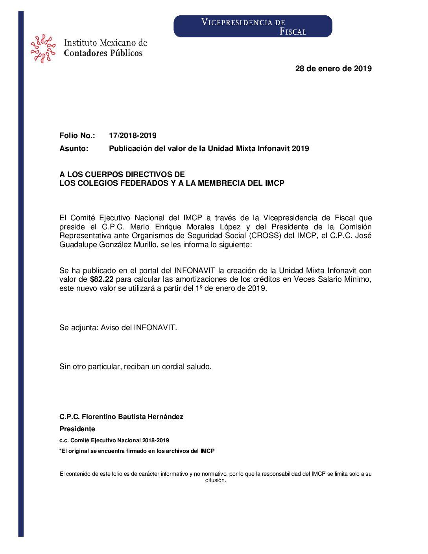 Folio No.: 17/2018-2019 Publicación del valor de la Unidad Mixta Infonavit 2019