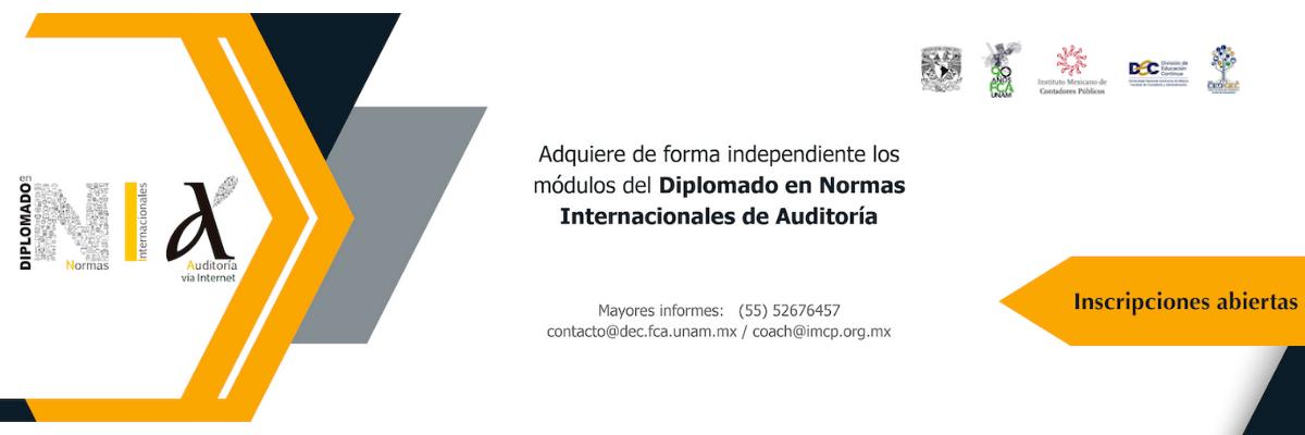 Diplomado en Normas Internacionales de Auditoría NIA (vía internet)¡Últimos días para inscribirte! Inicio 18 de Febrero