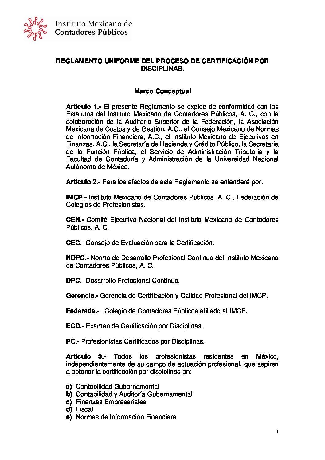 REGLAMENTO UNIFORME DEL PROCESO DE CERTIFICACIÓN POR DISCIPLINAS