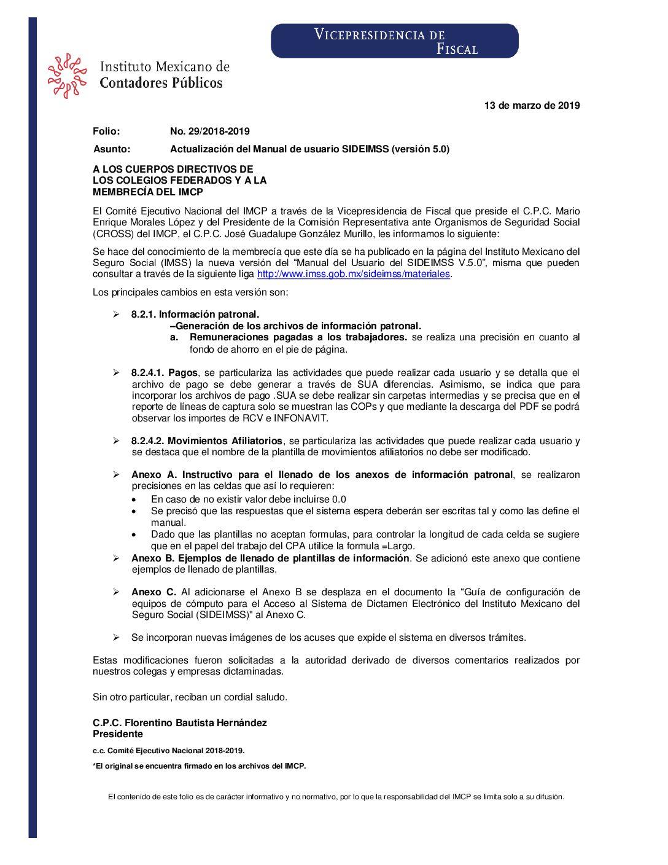 Folio No.: 29/2018-2019 Actualización del Manual de usuario SIDEIMSS (versión 5.0)