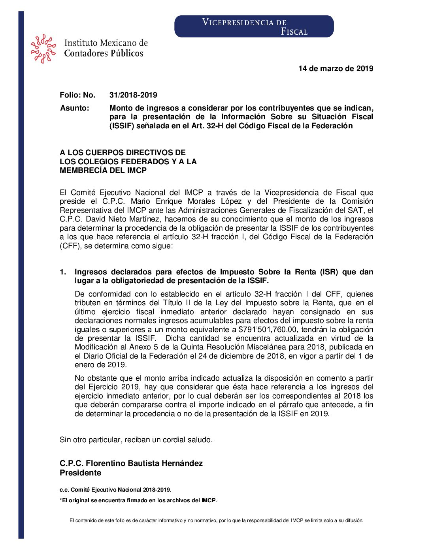 Folio No.: 31/2018-2019 Monto de ingresos a considerar por los contribuyentes que se indican, para la presentación de la Información Sobre su Situación Fiscal (ISSIF) señalada en el Art. 32-H del Código Fiscal de la Federación