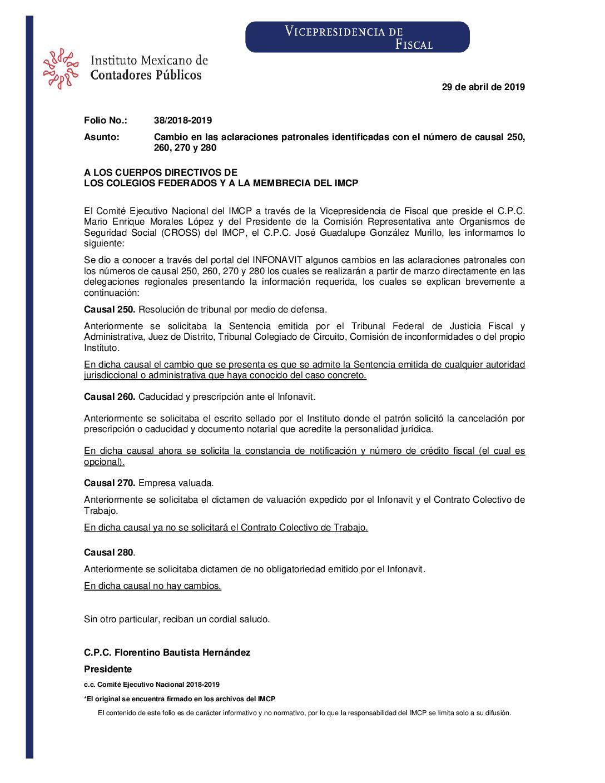 Folio No.: 38/2018-2019 Cambio en las aclaraciones patronales identificadas con el número de causal 250, 260, 270 y 280