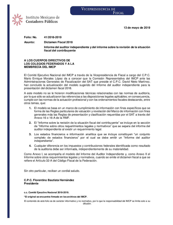 Folio No.: 41/2018-2019 Dictamen Fiscal 2018 -Informe del auditor independiente y del informe sobre la revisión de la situación fiscal del contribuyente