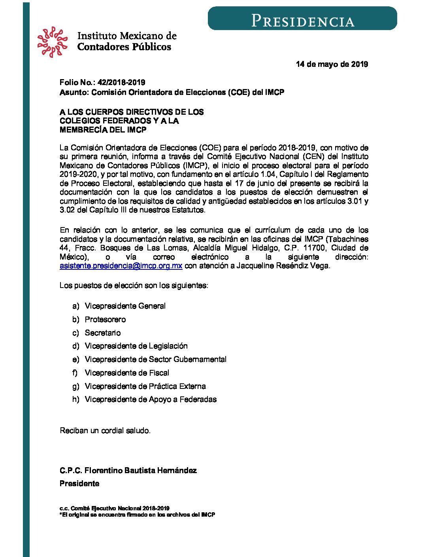 Folio No.: 42/2018-2019 Comisión Orientadora de Elecciones (COE) del IMCP
