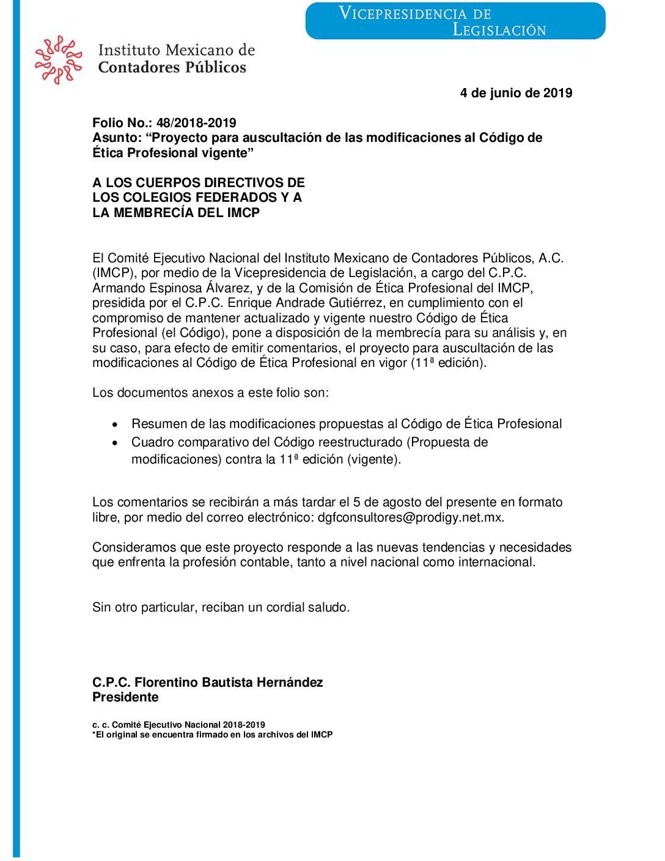 """Folio No. : 48/2018-2019 """"Proyecto para auscultación de las modificaciones al Código de   Ética Profesional vigente"""""""