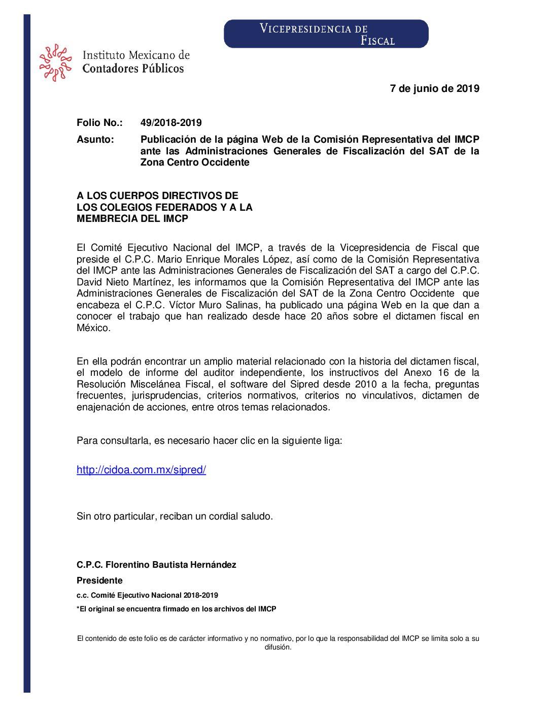 Folio No. : 49/2018-2019 Publicación de la página Web de la Comisión Representativa del IMCP ante las Administraciones Generales de Fiscalización del SAT de la Zona Centro Occidente
