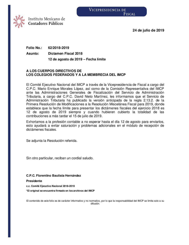 Folio No.: 62/2018-2019 Dictamen Fiscal 2018 12 de agosto de 2019 – Fecha límite