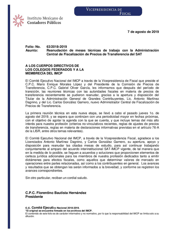 Folio No.: 63/2018-2019 Reanudación de mesas técnicas de trabajo con la Administración Central de Fiscalización de Precios de Transferencia del SAT