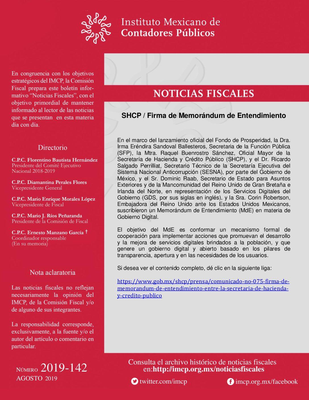 Noticias Fiscales 2019-142 SHCP / Firma de Memorándum de Entendimiento