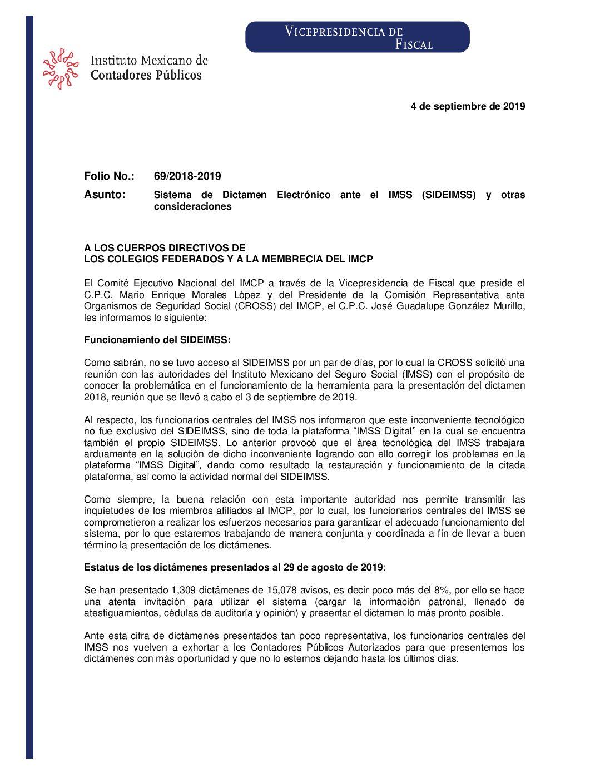 Folio No.: 69/2018-2019 Sistema de Dictamen Electrónico ante el IMSS (SIDEIMSS) y otras consideraciones