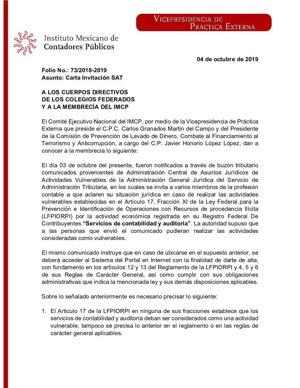 Folio No. : 73/2018-2019 Carta Invitación SAT