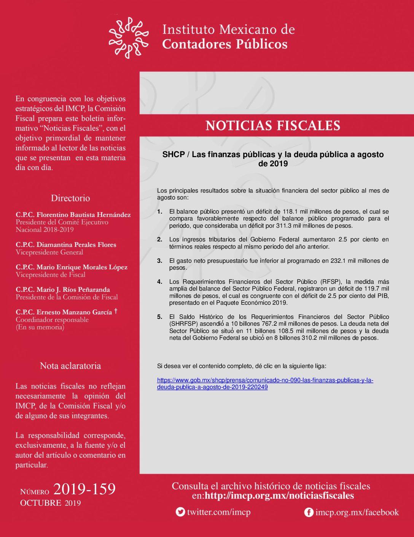 Noticias Fiscales 2019-159 SHCP / Las finanzas públicas y la deuda pública a agosto de 2019