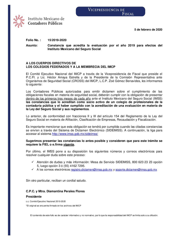Folio No. : 15/2019-2020 Constancia que acredita la evaluación por el año 2019 para efectos del Instituto Mexicano del Seguro Social