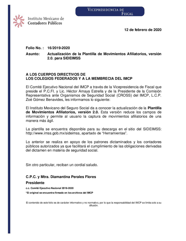 Folio 16.- Actualización de la Plantilla de Movimientos Afiliatorios, versión 2.0. para SIDEIMSS