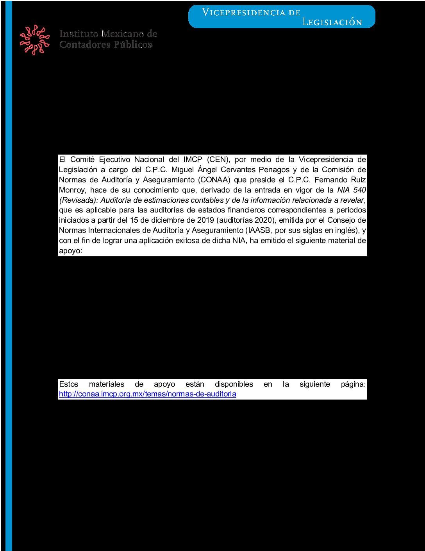 Folio 24.- Publicación de material de apoyo para implementación de NIA 540 (Revisada)