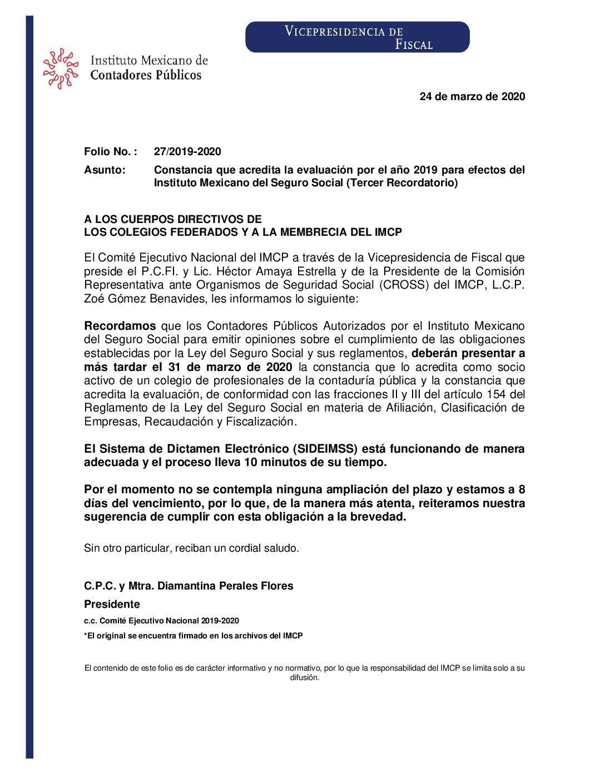 Folio 27.- Constancia que acredita la evaluación por el año 2019 para efectos del Instituto Mexicano del Seguro Social (Tercer Recordatorio).