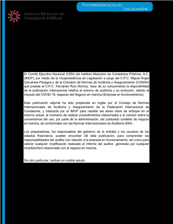 Folio 57.-Negocio en marcha (Empresa en funcionamiento) en el entorno actual en evolución.Consideraciones de auditoría para el impacto de COVID-19
