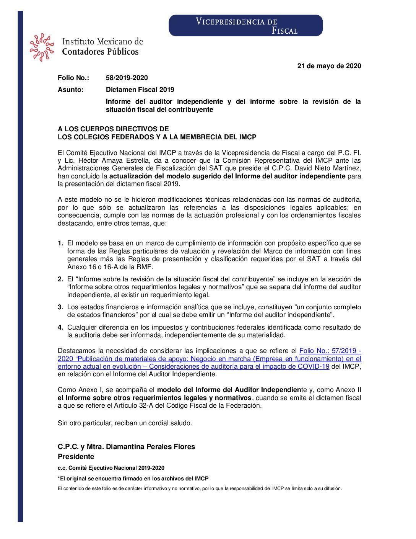 Folio 58.-Dictamen Fiscal 2019. Informe del auditor independiente y del informe sobre la revisión de la situación fiscal del contribuyente.