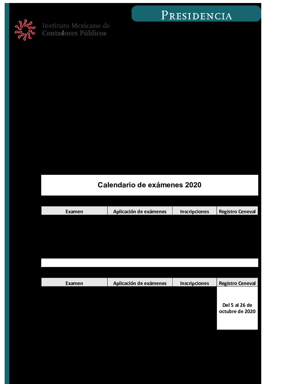 Folio 111/2019-2020.- Fechas de aplicación de los exámenes de certificación profesional del IMCP