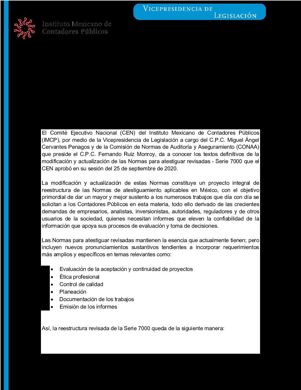 Folio 131/2019-2020.- Aprobación de las Normas para atestiguar revisadas – Serie 7000.