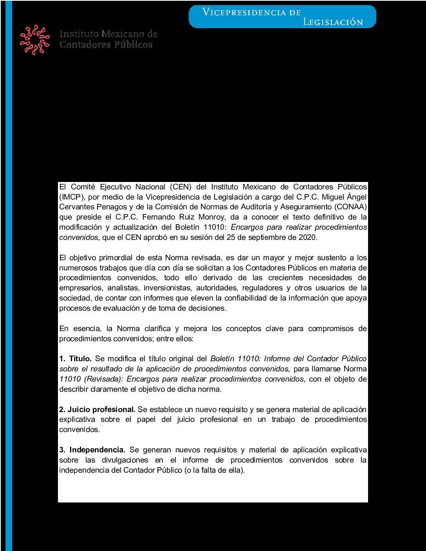 Folio 132/2019-2020.- Aprobación de la Norma 11010 (revisada): Encargos para realizar procedimientos convenidos.